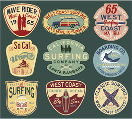 California surfing badges vector collection for t shirt print or embroidery