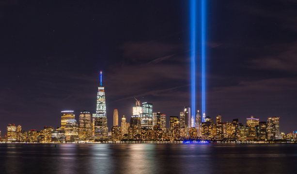 September 11th Lights from Liberty State Park