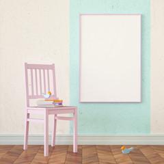 3d illustration interior. Mock up poster frame.