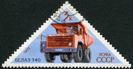 USSR - 1971: shows BelAZ 540 haul truck, series Soviet Cars