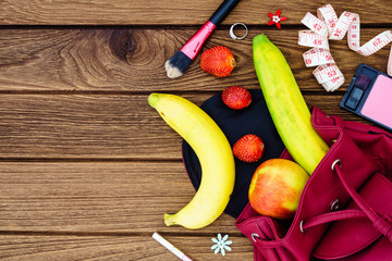 woman diet healthy fruit lifestyle  Concept -  apples , bananas