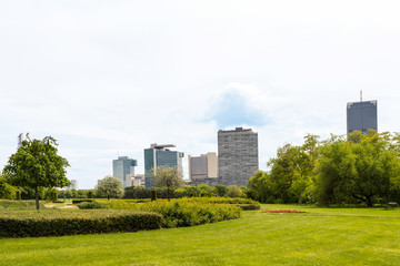 Fototapeta View on vienna international center, un city and office buildings seen from danube park, austria