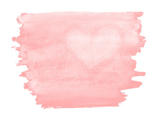 A fragment of a pale pink watercolor background with the light silhouette of the heart