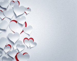 paper hearts  - 3D romantic  card / background ( love , valentine , wedding )