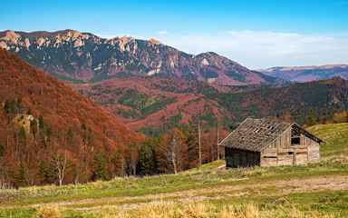 Abandoned old derelict country barn in mountains - Bratocea glade, Ciucas mountains, Brasov county, Romania, 1300m.