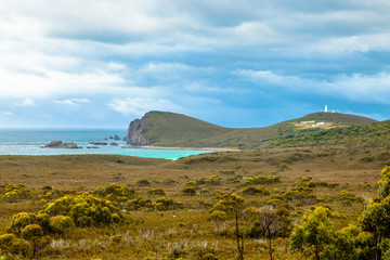 Cape Bruny Historic Lighthouse is located within the South Bruny Island National Park, Tasmania, Australia. Bruny Island is an island located along the southeast coast of Tasmania.