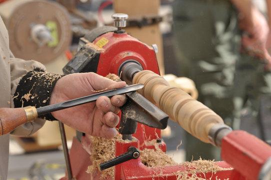 Wood turning outdoors on a lathe