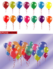 Festive Air Balloon set.  Vector illustration with real transparency. Realistic 3D style. Colorful set of red, yellow, blue, green, violet, orange, balloons isolated. For birthday party, invitation.