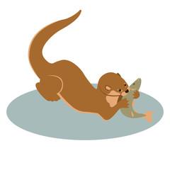 otter vector illustration style Flat
