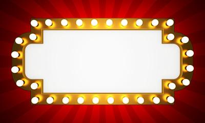 Golden retro cinema banner with rays. 3D rendering