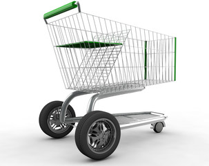 Concept. shopping cart with big car wheel isolated on white back