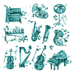 Set of cyan watercolor musical instruments.