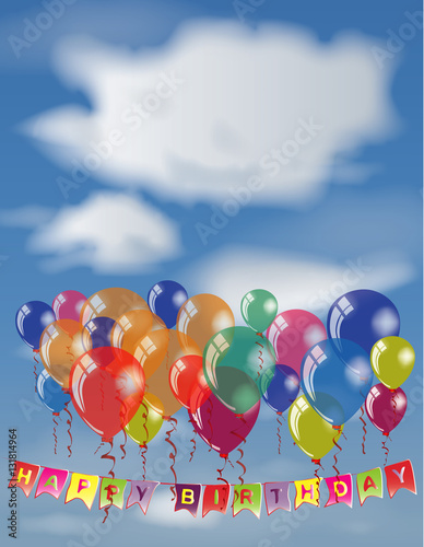 Happy Birthday Invitation Or Congratulation Card Template Place For Name And Text On White Cloud