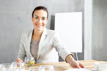 Fototapeta Rekrutacja, kobieta podczas rozmowy o pracę. obraz