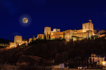 Night view of the Alhambra with full moon