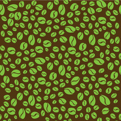 Pattern with green coffee beans on brown background.