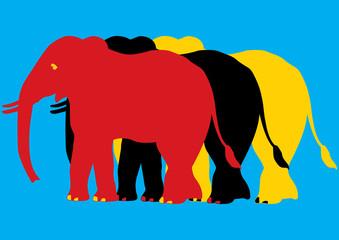 Pop art, éléphants multicolores
