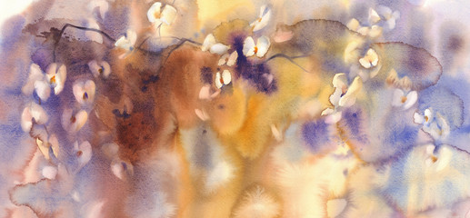 White orchids branches watercolor