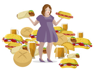 obese woman overeating fast food