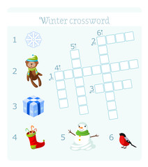 Winter crossword with pictures for children. Six words.