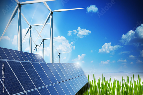 Quot Renewable Energy Concept With Solar Panels And Wind