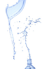 Water splash out of bottle. Isolated on white background, clippi