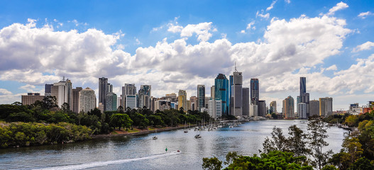 Panoramic view of Central Business District in Brisbane, Austral