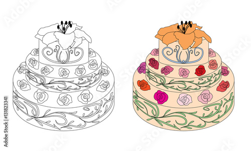 Coloring book page cake with roses  Sketch and color version