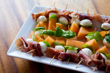 Cantaloupe and cheese appetizers