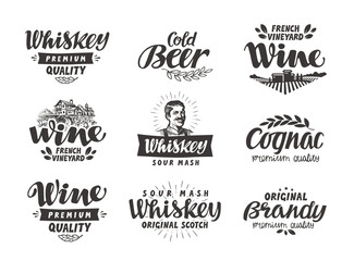 Menu, alcoholic drinks. Vector labels wine, beer, whiskey, brandy, cognac
