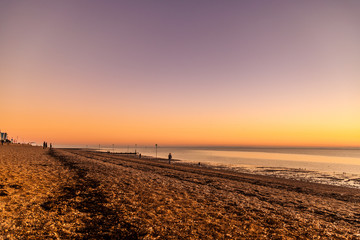 Southend on Sea beach at Sunset