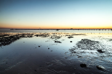 Tide out Southend Pier at Sunset