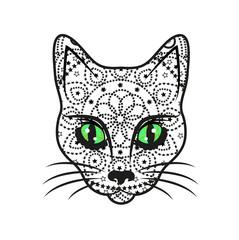 Vector illustration of decorated cat's head, testa di gatto vettoriale