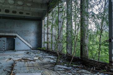 sports hall in old ruined abandoned city Pripyat after nuclear disaster
