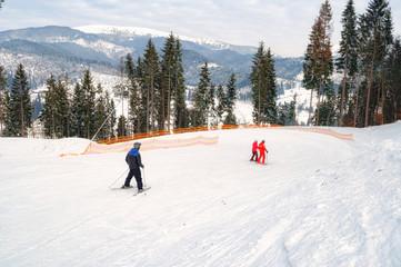 Ski piste in the resort of Bukovel in the Carpathians