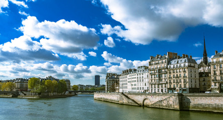 A sunny day in Paris beside seine river