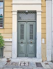 Athens Greece, elegant house olive green painted door