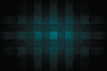Fragment of lattice or crossing lines wallpaper green turquoise blue navy lime black dark colored, or abstract surface of geometrical square pattern background, or texture useful as background