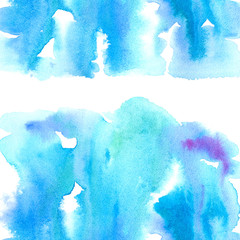 Blue watery frame .Abstract watercolor hand drawn illustration.Azure splash.White background.