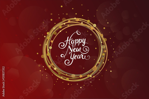 new year wishes over dark red background with yellow christmas ornament