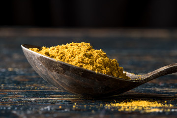 Curry powder on an antique spoon