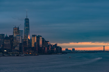 New York Manhattan skyline at dusk