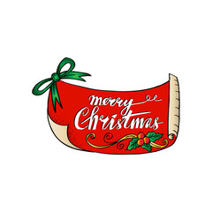 Merry christmas card. Isolated sticker with lettering.