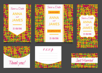 Beautiful wedding set of printed materials with a abstract design. Wedding invitation card, save the date cards, R.S.V.P. and thank you card.