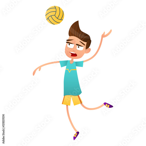Volleyball players jumping