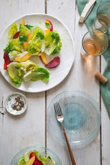 Summer Salad being served on a white farm table