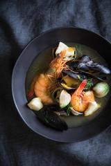 A bowl of bouillabaisse
