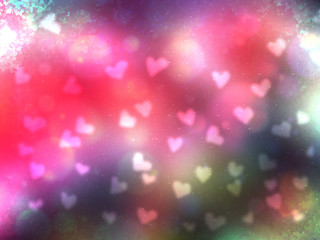 Beautiful pink heart bokeh abstract background