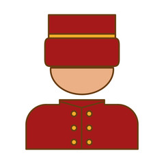 bellhop man icon over white background. hotel services concept. colorful design. vector illustration