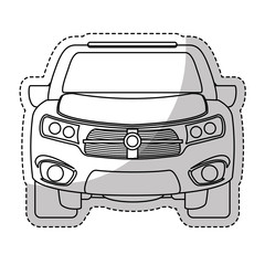 sticker of car vehicle icon over white background. vector illustration